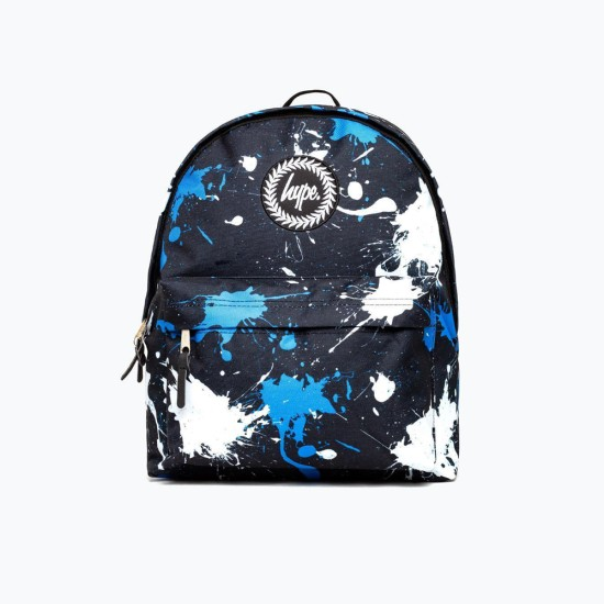 Hype Splatter Black White Blue Backpack