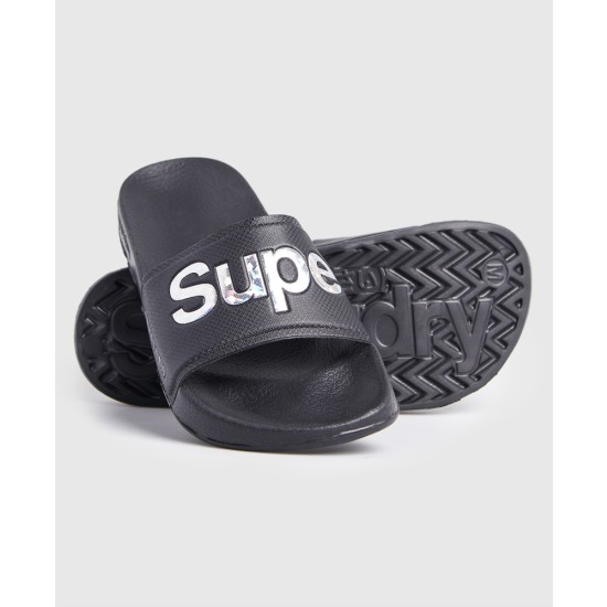 Superdry Holographic Infill Pool Sliders Black